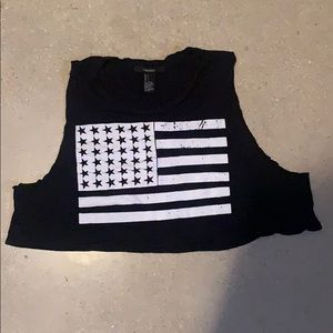 American flag graphic crop top